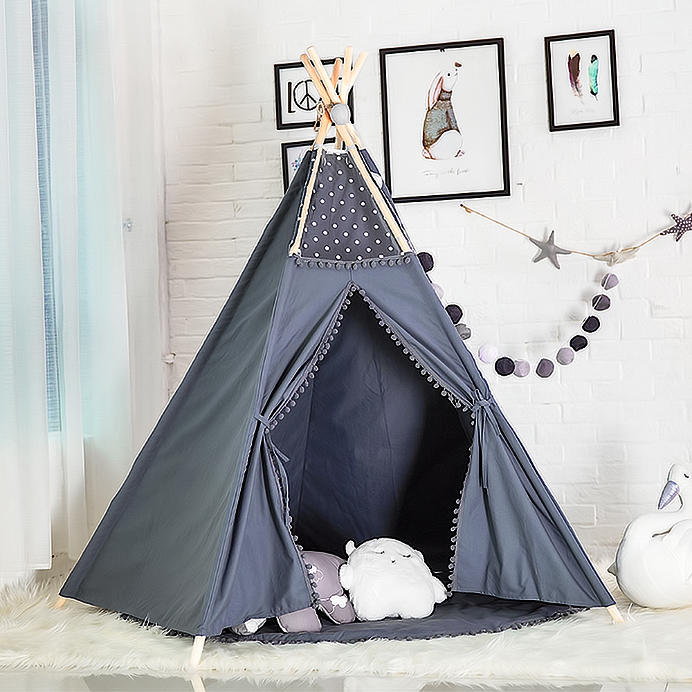Kids Teepee Indian Wooden Tent Large Handmade Cotton Canvas Pom Poms Lace Children Play Tent Grey