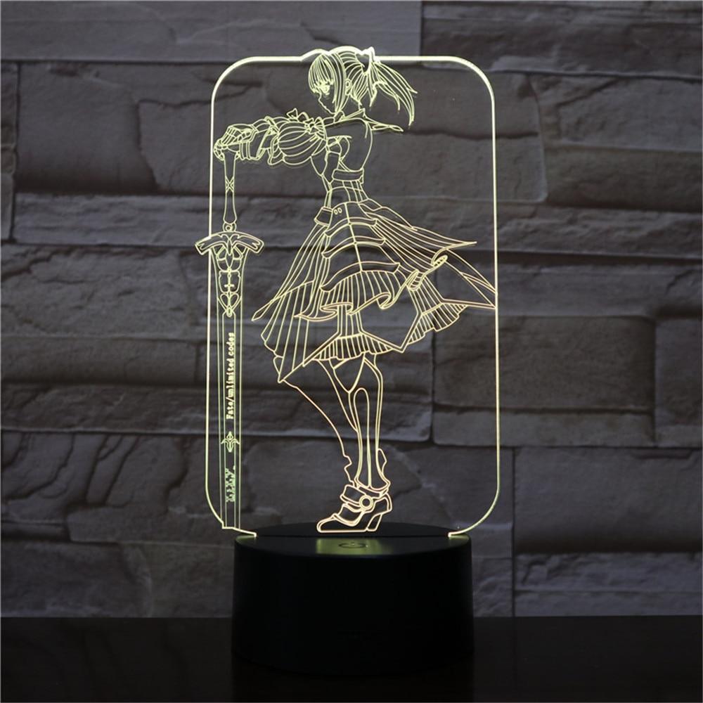 3D Light Anime Claymore Teresa LED Night Light RGB Changed Children Bedside Sleeping Lamp for Festival Birthday Girls Gifts