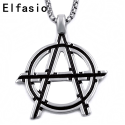 Mens Boys Silver Anarchy Symbol Pendant with Stainless steel Necklace Chain Necklace Jewelry P216