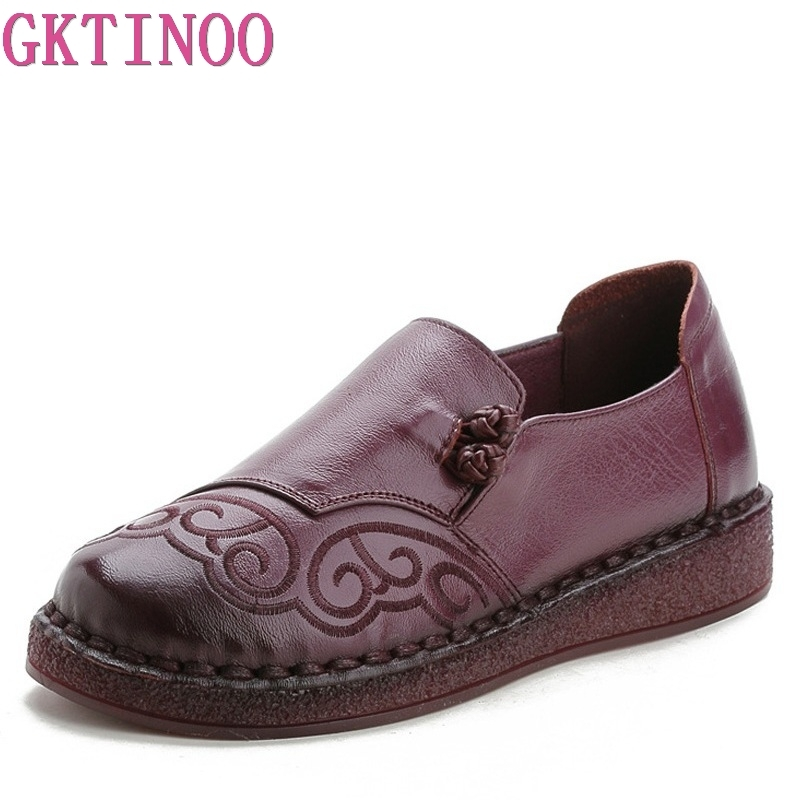 GKTINOO Vintage Handmade Slip On Casual Loafers Women Flat Shoes Round Toe Embroidery Flats Women Moccasins Autumn Ladies Shoes