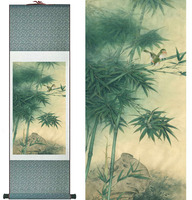 Bamboo Painting Home Office Decoration Chinese scroll painting birds painting bamboo and Birds paintingPrinted painting