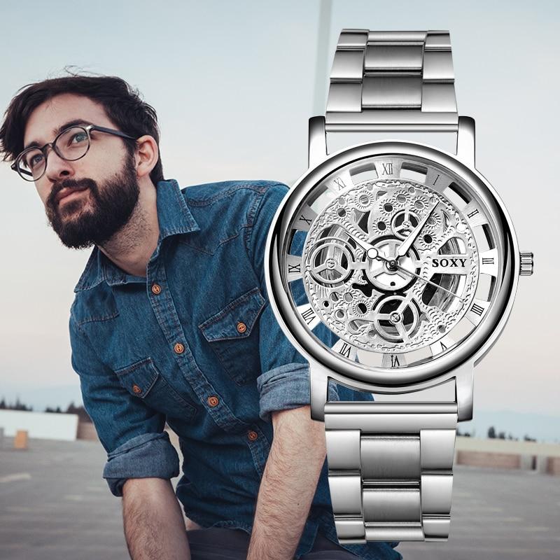 2018 New Top Brand SOXY Wrist Watch Unique Style Men Quartz Watches Fashion Hollow Designer Gentle Clock relogio masculino saat