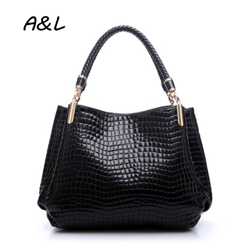 цена на Women New Fashion Handbag Office Lady Luxury Designer Alligator PU Leather Tote Stylish Casual Business Party Shoulder Bag A0014