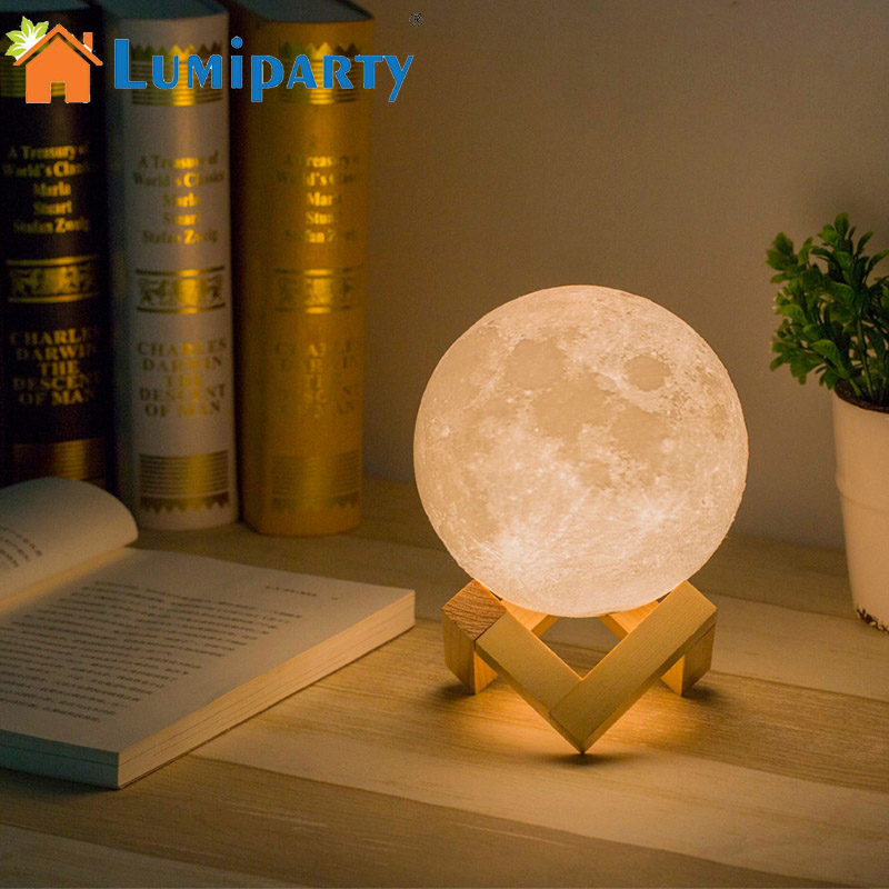 Lumiparty Rechargeable 3D Lights Print Moon Lamp Change Touch Switch Bedroom Bookcase Usb Led Night Light