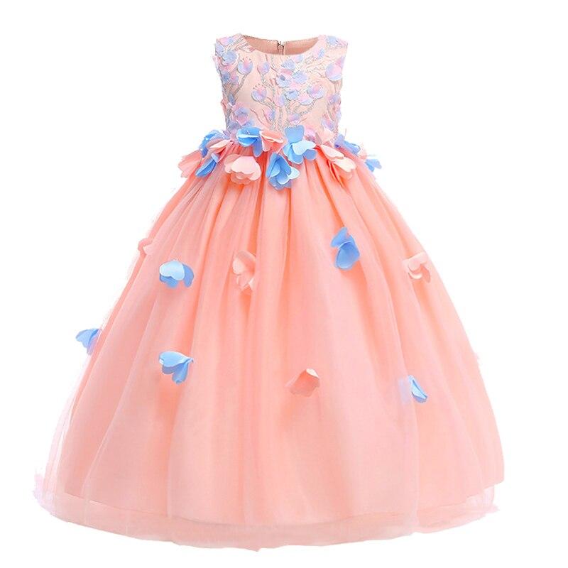 2019 Girl Wedding Dress Appliques Petal Princess Prom Ball Gown Long Dress Pageant Dresses For Girls Vestido Comunion Costume