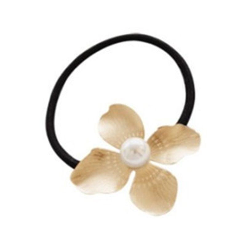 Korean Metallic Delicate Rubber Band Womens Drawbench Four Petals Flower Hair Rope Imitation Pearl DIY Styling Ponytail Holder