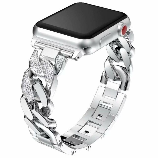 Новый Для женщин часы аксессуары Bling Diamond Нержавеющаясталь ремешок для Apple Watch Series 1/2/3/4 42 мм 38 мм браслет на 40 мм 44 мм