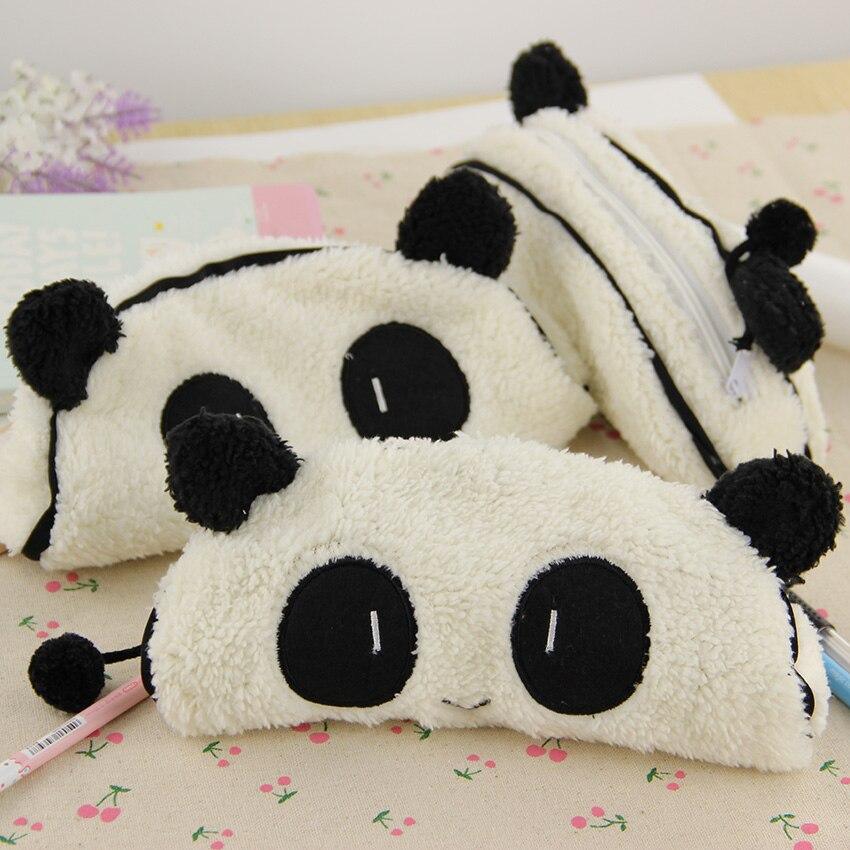 1 PC Fashion Cute 3D Plush Panda Pencil Case Portable Student Stationery Storage Pencil Bag Office Supplies