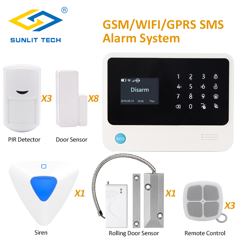 G90B Plus APP Remote Home GSM WIFI Alarm System with Wireless Flash Siren and Roller Shutter Magnetic Contact Sensor