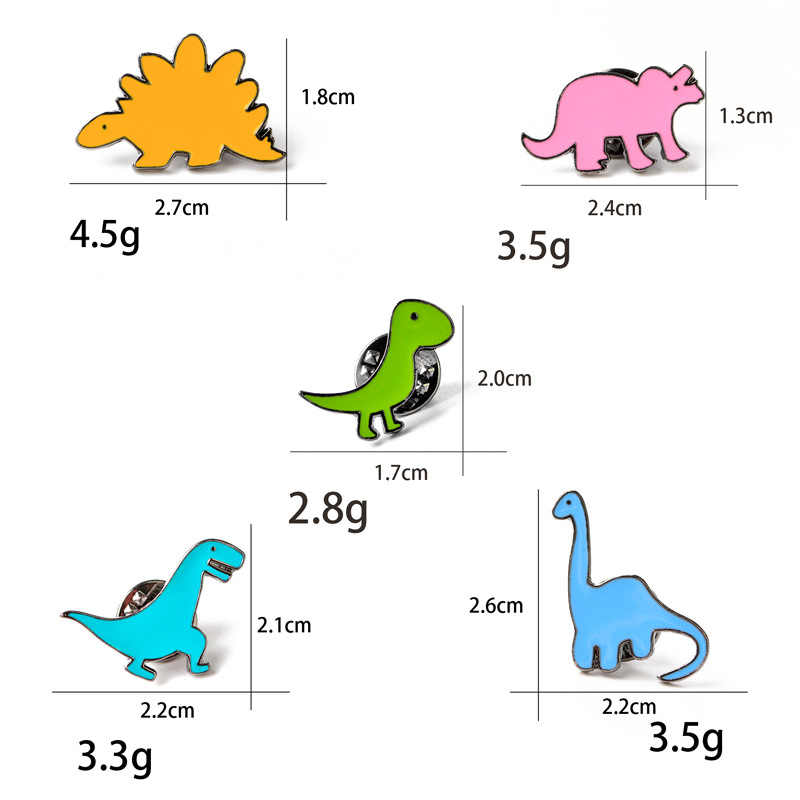 DoreenBeads Cute Animal Dinosaur Badges 3D Enamel Pin Brooches for Man Woman T Shirt Collar Jacket Coat Bag Shoes 2017 Trendy