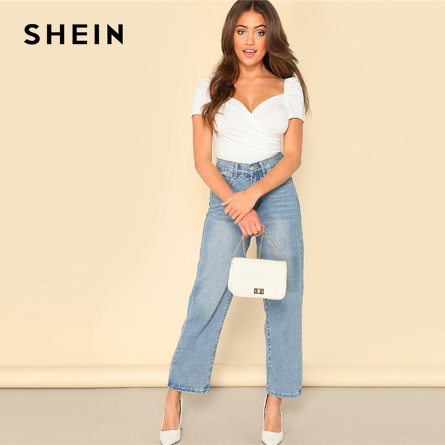 SHEIN White Puff Sleeve Wrap Sweetheart Bodysuit Women Summer Short Sleeve Mid Waist Puff Sleeve Skinny Solid Bodysuits 3