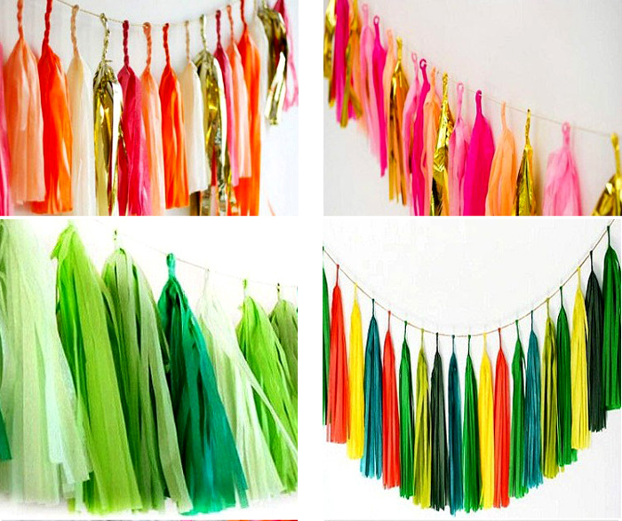 15pcs Tissue Tassels Balloon Banner For Summer Theme Birthday Party Decoration Green Blue Color Baby Shower Balloons Accessories