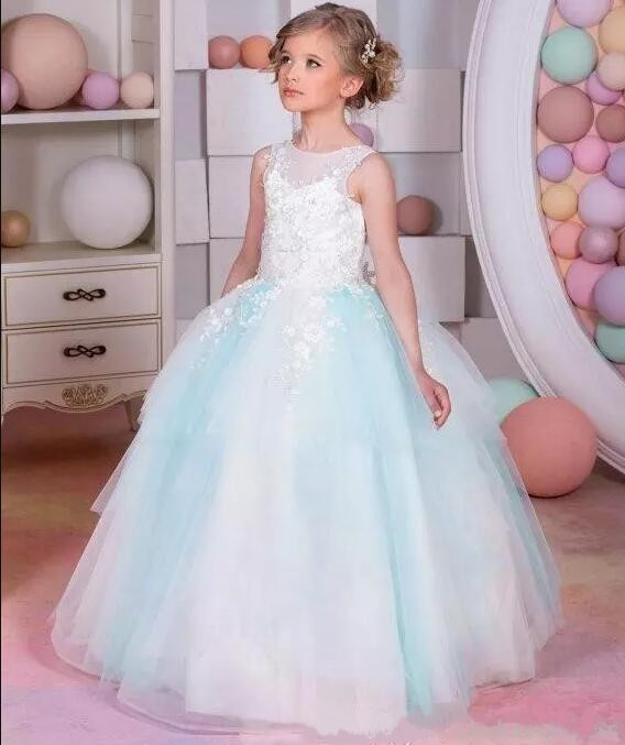 New White Light Blue Lace Flower Girls Dresses For Weddings Appliques Beads Ball Gown Girls Birthday Pageant Gown цена