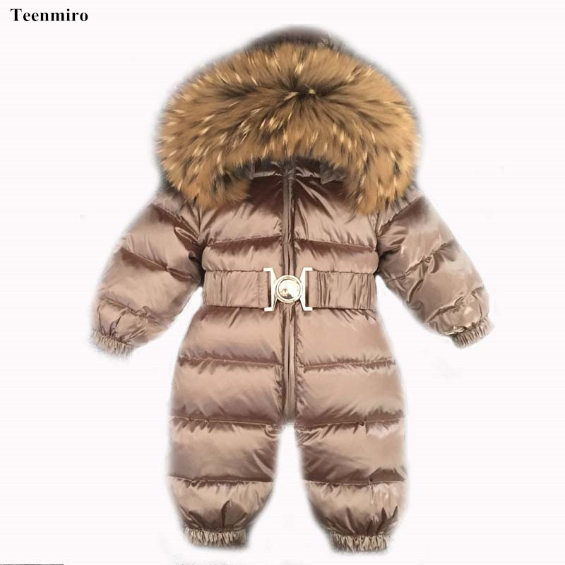 newborn baby clothes winter snowsuit infant duck down jumpsuit toddler romper fur baby onesie. Black Bedroom Furniture Sets. Home Design Ideas