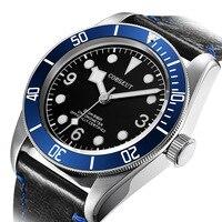 41 MM CORGEUT Moldura Azul cristal de Safira Relógio Mecânico Moda Casual mostrador preto dos homens Automáticos do Relógio Relógios mecânicos     -