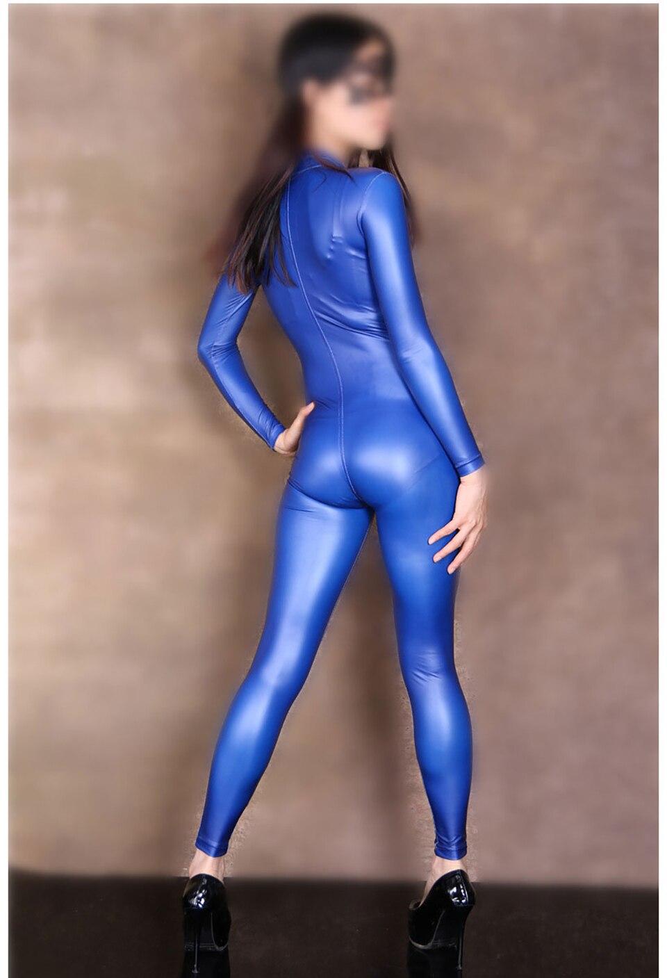Femme À De rouge Latex Femmes Fermeture Avant Barboteuses blanc Éclair Unitard Body Catsuit bleu Clubwear Salopette Sexy gris Manches Mode Justaucorps Longues Noir Costumes BzqZZI