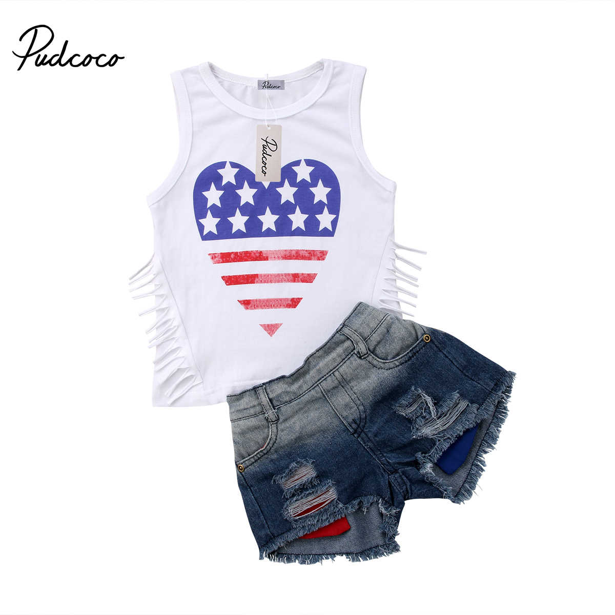 fdfa640444 Detail Feedback Questions about 2018 Brand New Toddler Infant Kid Girl  Clothing Set Star Striped Tassel Vest T shirt Tops+Denim Shorts Ripped Jean  2PCS Flag ...