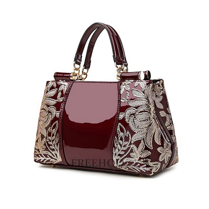 New style bags for women 2018 in Europe sequined chains Luxury patent pu  leather brand handbags women messenger bags-in Top-Handle Bags from Luggage    Bags ... 825f5c52f8355