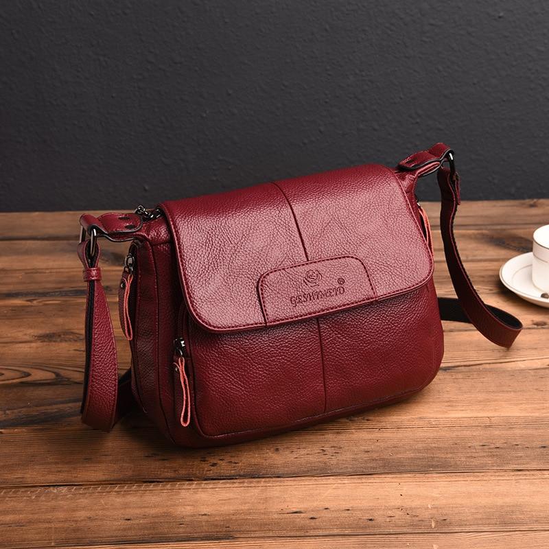 Women's Handbags Messenger-Bags Shoulder Genuine-Leather High-Quality Lady Bolsas-Feminina