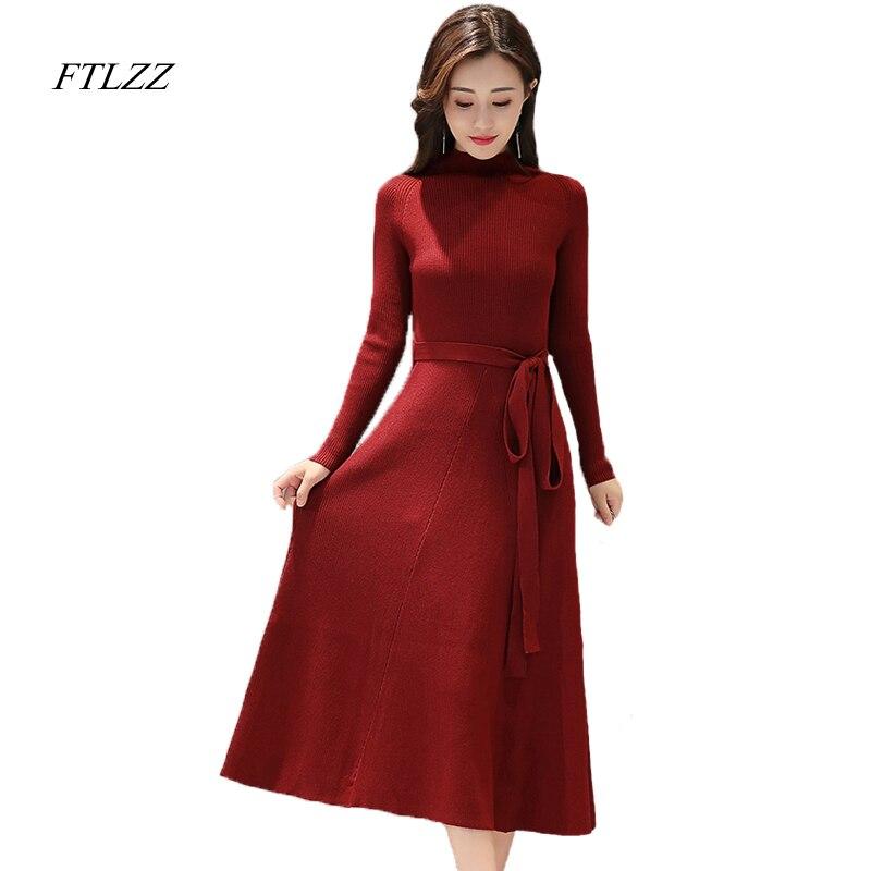 Ftlzz New Women Winter Knitted Dress Elegant Solid Belt Slim Fashion High Waist O Neck Long Sleeve Mid-calf Knitted Dress the new muslim women s dress elegant chiffon pendant loose lined waist belt