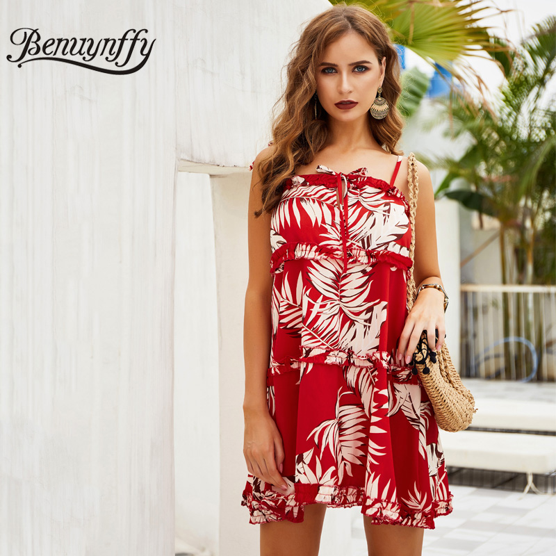 Dynamic Benuynffy Tropical Print Tie Cami Boho Dress 2019 Women Summer Holiday Beach Casual Spaghetti Strap Sleeveless Mini Dresses To Ensure A Like-New Appearance Indefinably Women's Clothing