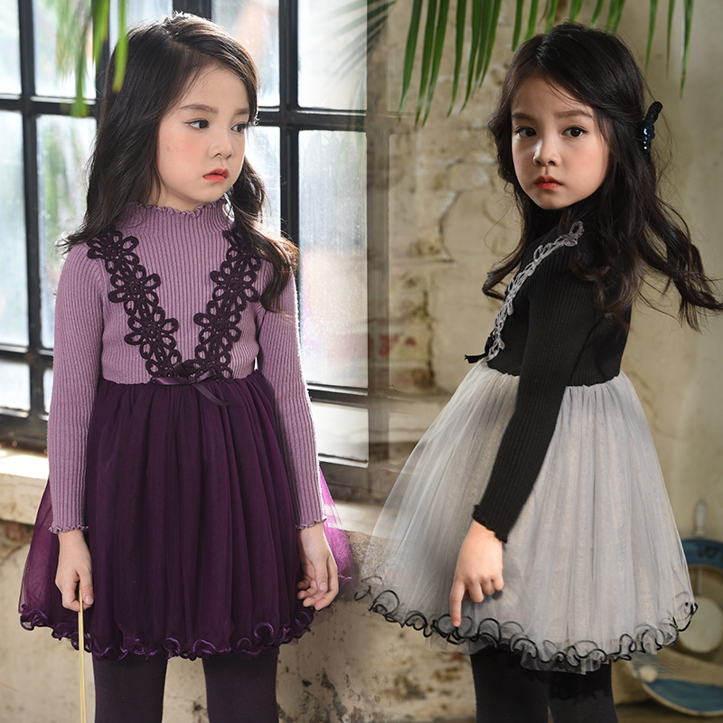 Girls new children  tutu dresses kids party Long Sleeve clothes winter lace clothing  1AP410DS-61R 2017 cute children girls cotton dress long sleeve print tutu party dresses toddler kids clothes outfits 1 5y