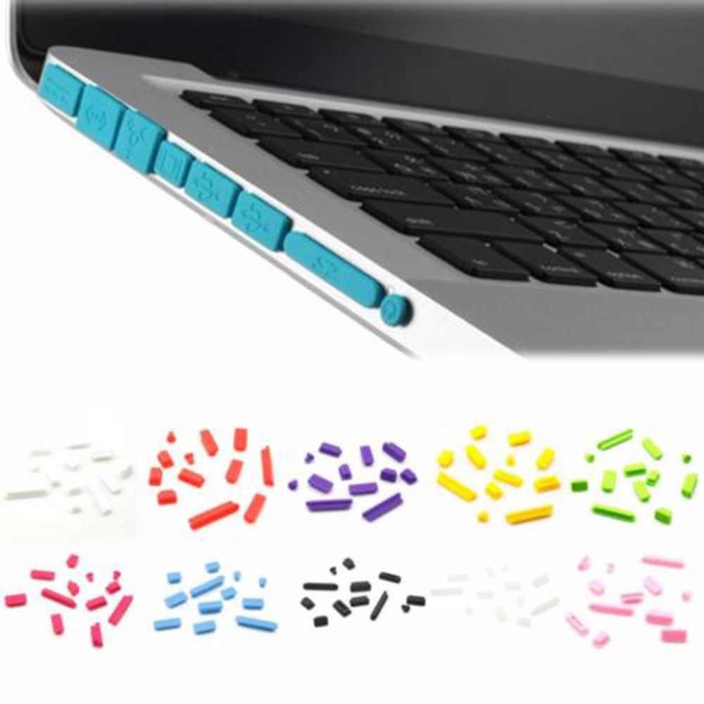 """12 Pcs Karet Anti Debu Plug Tahan Debu Cover Stopper Warna-warni Lembut Silikon Debu Plug untuk Mac Book Air 13"""" 11 """"Retina Port Laptop"""