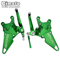 Bjmoto Motocross Aluminum Adjustable Rearset Foot Pegs Rearsets Footrest for Kawasaki Z900 Z 900 2017 2018 Rear set z900 logo