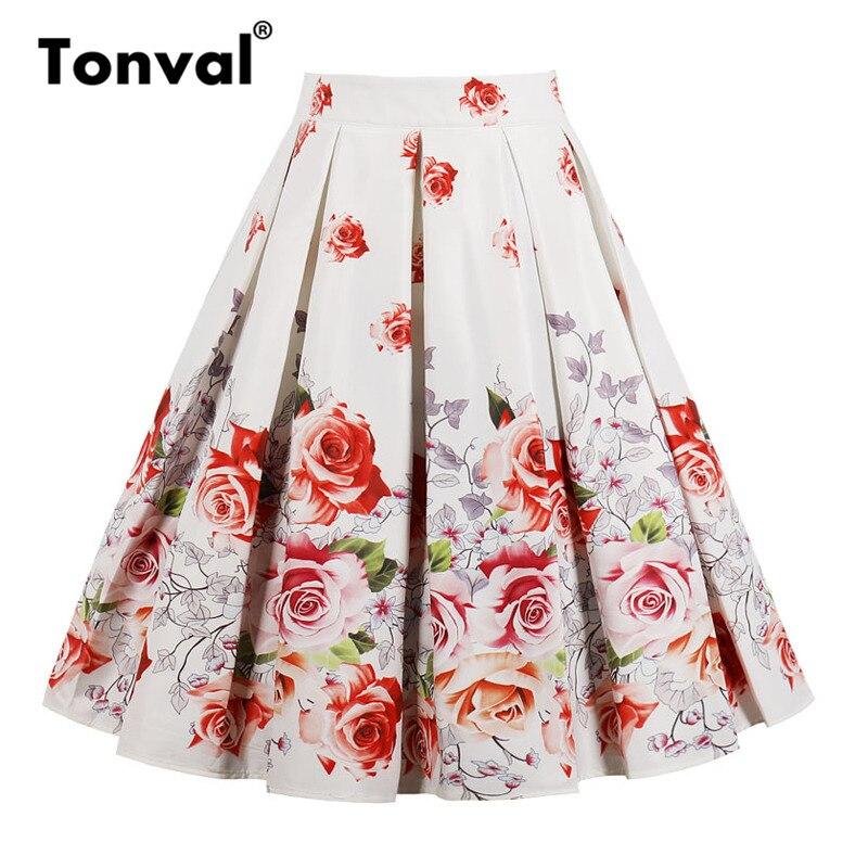 Tonval Rose Flower Print Vintage Skirts Womens Floral Pleated Skirt Summer 2018 Retro Elegant School Midi Skirt