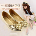 2016 Lady's comfortable(4 to 9) silk sewing leisure pointed toe flattie rhinestones single shoes in spring summer gold color