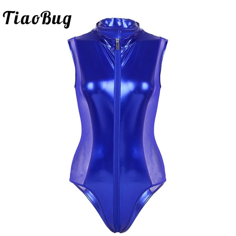 Buy TiaoBug Women Shiny Faux Leather Bodysuit Catsuit Mesh Splice Zipper Open Crotch Thong Body Suits Sexy Women Night Club Costume