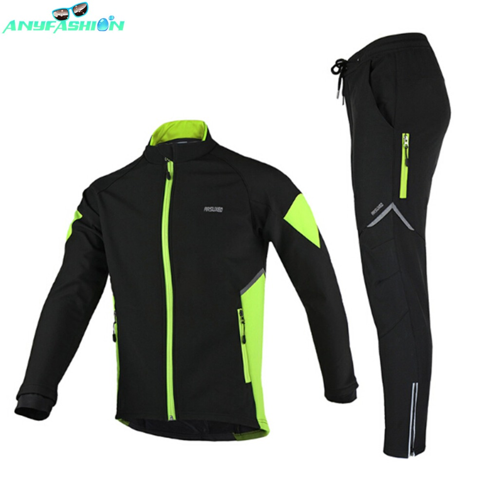 Thermal Cycling Jacket Winter Warm Up Bicycle Sets Clothing Windproof Waterproof Soft shell Coat MTB Bike Pant 2017 new high grade cycling coat windproof bike bicycle clothing men