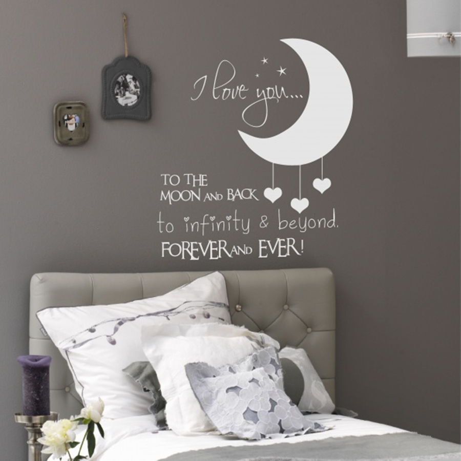 Vinyl Kids Bedroom Wall Decals I Love You To The Moon And Back Wall Sticker  For Baby Room Nursery Decor Baby Room Wall Mural C5