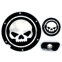 Motorcycle Skull Black Timing Accessories Derby Timer Cover For Harley Sportster Iron XL 883 1200 04-14
