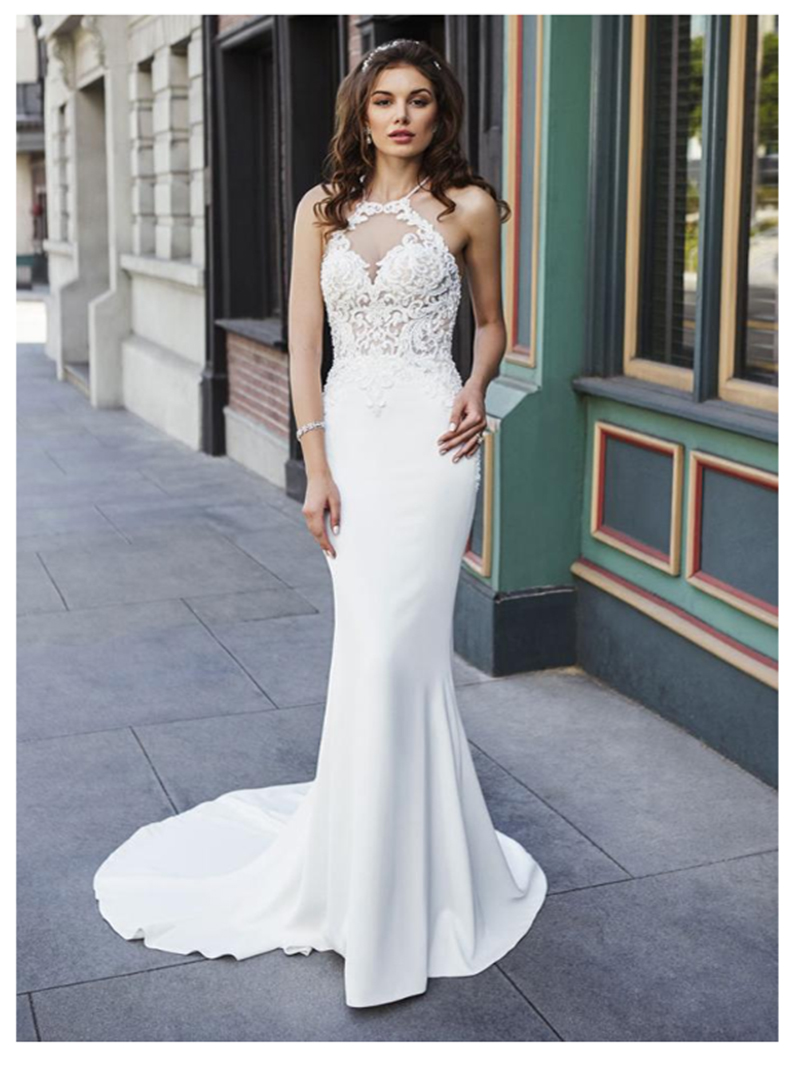LORIE Mermaid Wedding Dresses Appliques Lace Beach Bride Dress Sexy See Through Back White Ivory Wedding Gown 2019