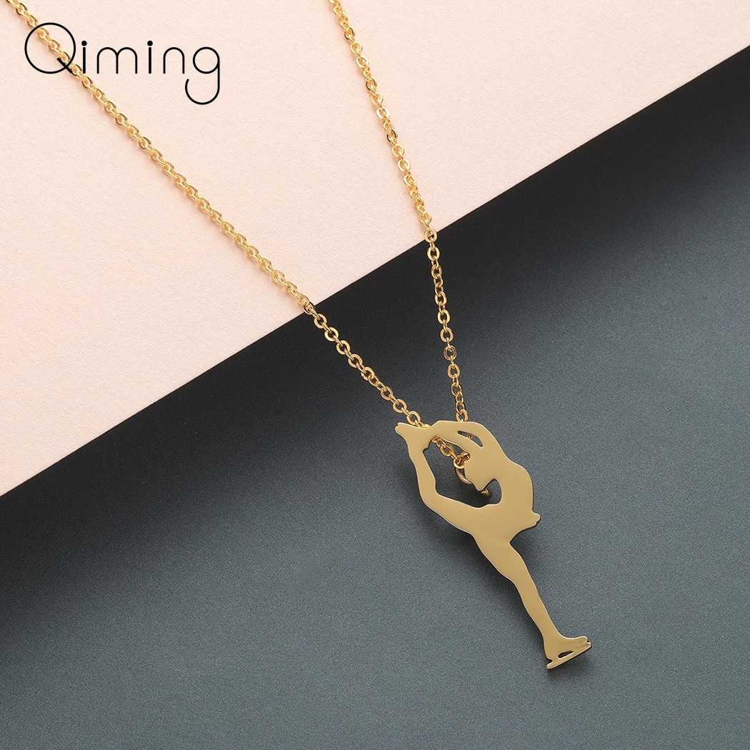 Ice Skating Sports Necklace Women Gold Boho Jewelry Figure Skating Pendant Necklace Girls Collars Birthday Gift