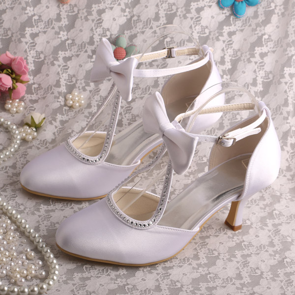 No Heel Wedding Shoes: Diana Cheap White Custom Wedding Shoes For Bridesmaids