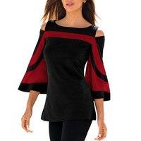 Для женщин женская блузка; Весна лето с открытыми плечами три четверти рукав рубашки в стиле пэчворк пуловер, топы, блузка рубашка Femme Mujer