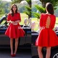 Sexy Red Taffeta Half Sleeves Scoop Lace Mini Short Cocktail Dresses 2016 Vestido De Festa Party Dresses Robe De Cocktail N60901