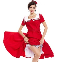 Sisjuly Vintage Dress 1950s Style Summer Red Pin Up Short Sleeve Naval Collar Women Party Dress