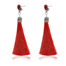 Red/Navy/Green Fashion Long Tassel Earrings Exaggerated Vintage Crystal Fringe Statement Jewelry For Women