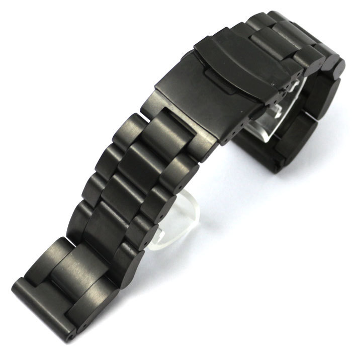 24mm Watch Band Black Stainless Steel Strap for Hours with Folding Claps with Safty Watches Replacement GD013524
