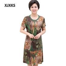 545e70ef83e9 XJXKS 2018 summer cool and comfortable women linen dress mother clothing  plus size beautiful women s dresses
