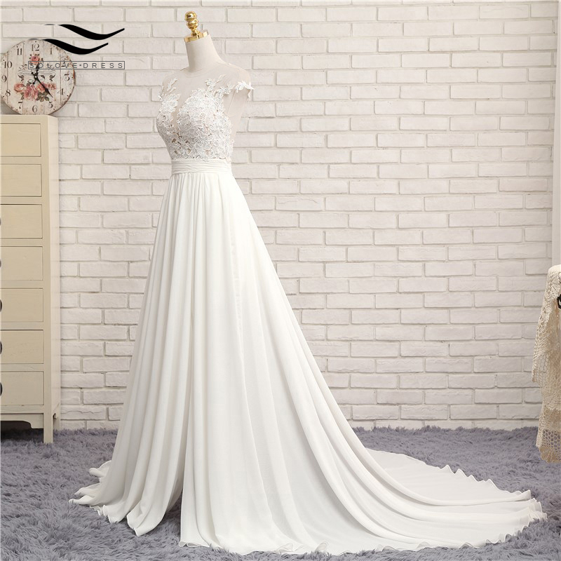 Sexy V-neck Chapel Train Long Zipper Cap Sleeves Lace Applique A Line Beach Wedding Dress Real Photo Wedding Gown SLD-W592