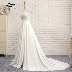 Image 4 - Sexy V neck  Chapel Train Long Zipper Cap Sleeves Lace Applique A Line Beach Wedding Dress Real Photo Wedding Gown SLD W592