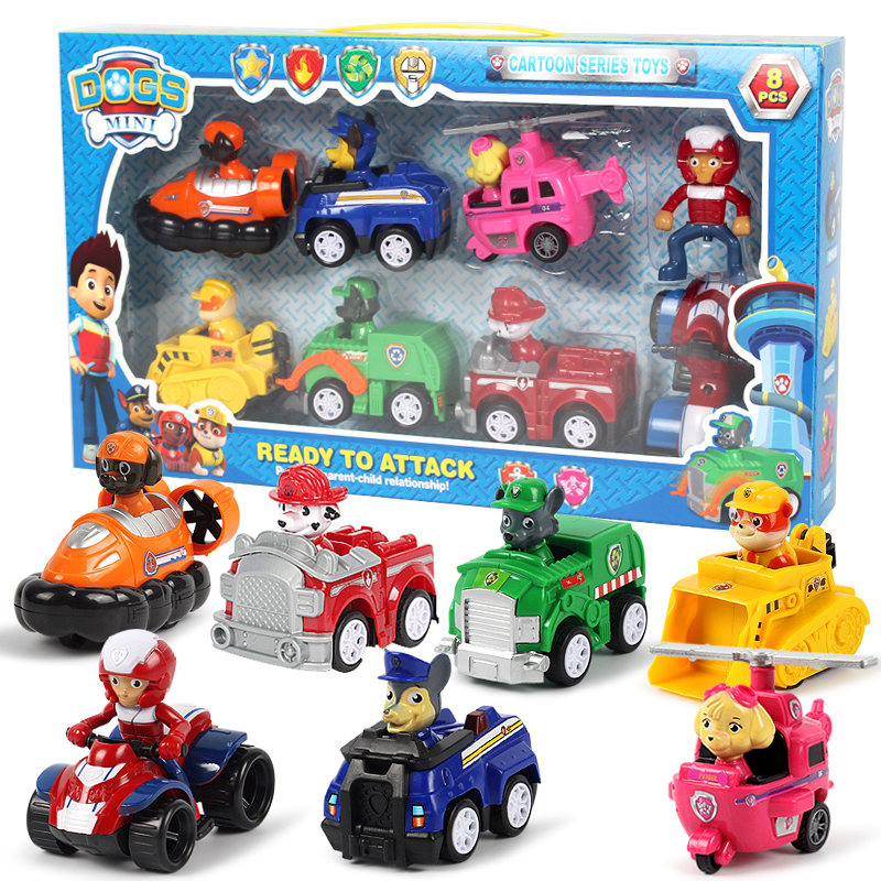 Paw Patrol Dog 7pcs/set Puppy Patrol Car Patrulla Canina Action Figures Vinyl Doll Toy Kids Children Toys Gifts