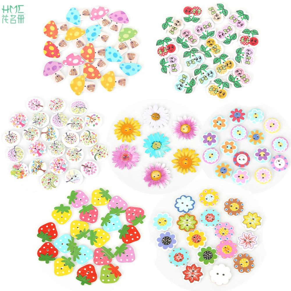 50pcs/bag Mixed Color 2 holes Flower Tree Cherry Pattern Wooden Buttons for Scrapbook Sewing Accessories DIY Craft