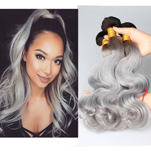 New 8A Grade Grey Hair Weave Ombre #1B/Grey Peruvian Virgin Body Wave Human Hair Weaves 3Pcs Silver Grey Ombre Hair Extensions