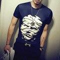 Verão 2016 Nova Chegada 3D Rosto Impresso T Shirt Homens Causal o pescoço Men Camiseta Slim Fit T-Shirt Dos Homens de Manga Curta Plus Size M-5XL