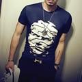 Verano 2016 Nueva Llegada 3D Cara Impresa Camiseta de Los Hombres Causales o-cuello de Los Hombres Camisetas Slim Fit de Manga Corta Camiseta Hombres Plus M-5XL